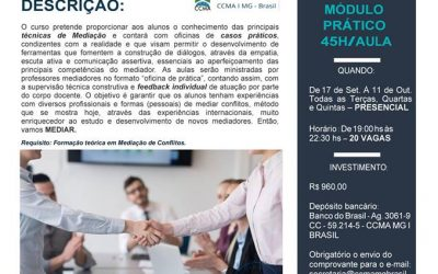 A CCMA apresenta o módulo II de seu Curso de Mediação Extrajudicial